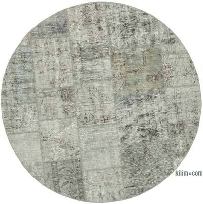 """Grey Round Patchwork Hand-Knotted Turkish Rug - 4' 11"""" x 4' 11"""" (59 in. x 59 in.)"""