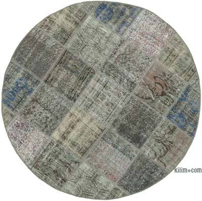 """Grey Round Patchwork Hand-Knotted Turkish Rug - 4' 9"""" x 4' 9"""" (57 in. x 57 in.)"""