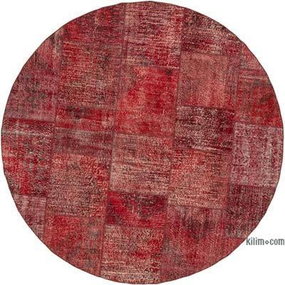 Kırmızı Yuvarlak Boyalı Patchwork Halı - 247 cm x 247 cm
