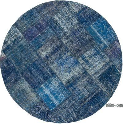 Lacivert Yuvarlak Boyalı Patchwork Halı - 244 cm x 244 cm