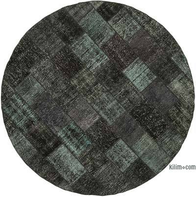 """Black Round Patchwork Hand-Knotted Turkish Rug - 8' 1"""" x 8' 1"""" (97 in. x 97 in.)"""