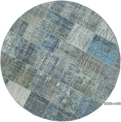 "Blue Round Patchwork Hand-Knotted Turkish Rug - 7' 1"" x 7' 1"" (85 in. x 85 in.)"