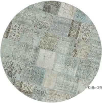 """Blue Round Patchwork Hand-Knotted Turkish Rug - 7' 1"""" x 7' 1"""" (85 in. x 85 in.)"""