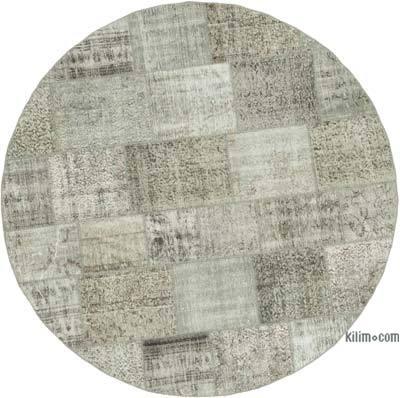Gri Yuvarlak Boyalı Patchwork Halı - 215 cm x 215 cm