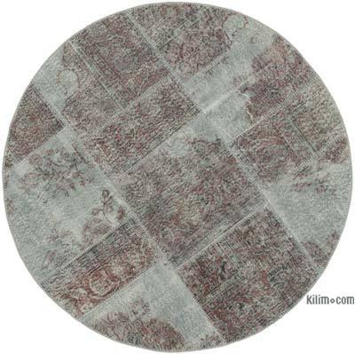 Gri Yuvarlak Boyalı Patchwork Halı - 150 cm x 150 cm
