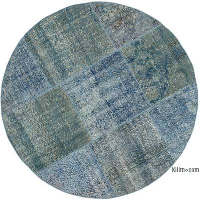 Mavi Yuvarlak Boyalı Patchwork Halı - 154 cm x 154 cm