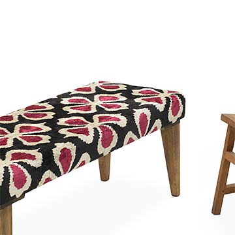 Bench Upholstered with Silk Velvet Ikat Fabric - K0054762