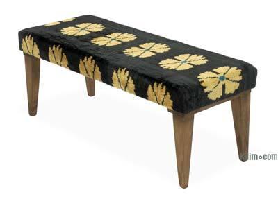 Bench Upholstered with Silk Velvet Ikat Fabric