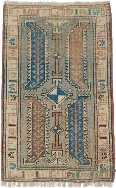 """Vintage Turkish Hand-Knotted Rug - 1' 9"""" x 2' 9"""" (21 in. x 33 in.)"""