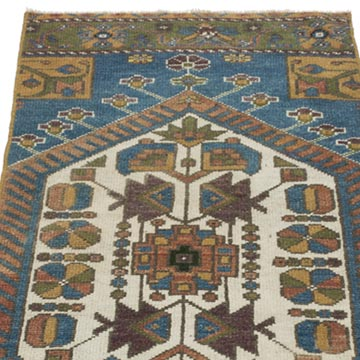 """Vintage Turkish Hand-Knotted Rug - 1' 8"""" x 4' 1"""" (20 in. x 49 in.) - K0054772"""