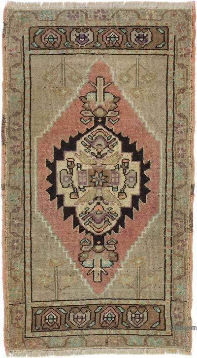 """Vintage Turkish Hand-Knotted Rug - 1' 10"""" x 3' 2"""" (22 in. x 38 in.)"""