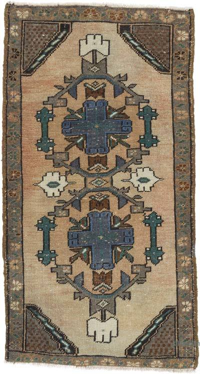 """Vintage Turkish Hand-Knotted Rug - 1' 10"""" x 3' 3"""" (22 in. x 39 in.)"""