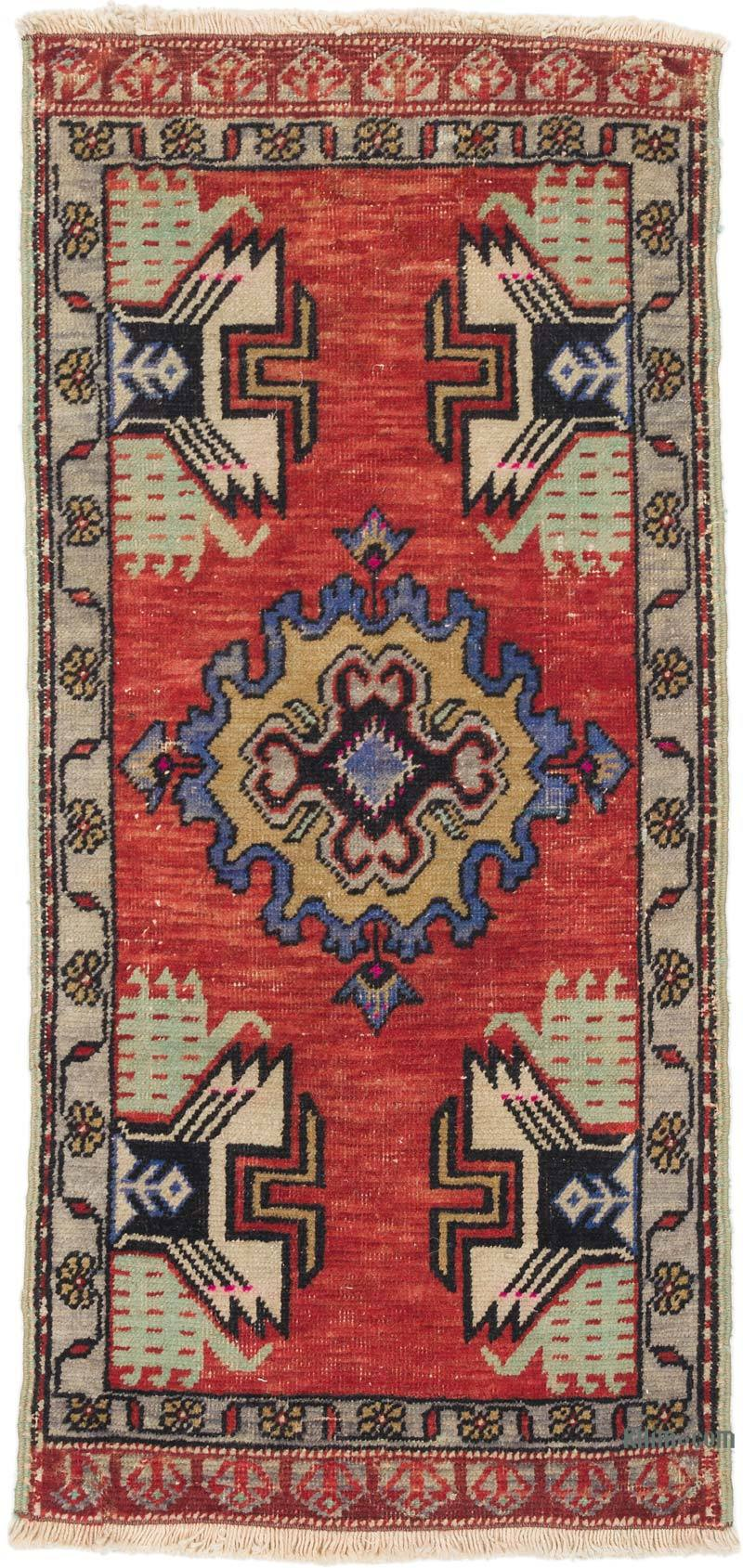 """Vintage Turkish Hand-Knotted Rug - 1' 8"""" x 3' 5"""" (20 in. x 41 in.) - K0054793"""