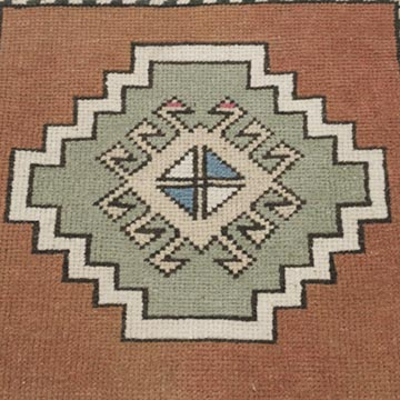"""Vintage Turkish Hand-Knotted Rug - 1' 9"""" x 1' 10"""" (21 in. x 22 in.) - K0054798"""