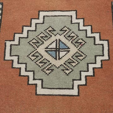 """Vintage Turkish Hand-Knotted Rug - 1' 9"""" x 1' 10"""" (21 in. x 22 in.) - K0054799"""