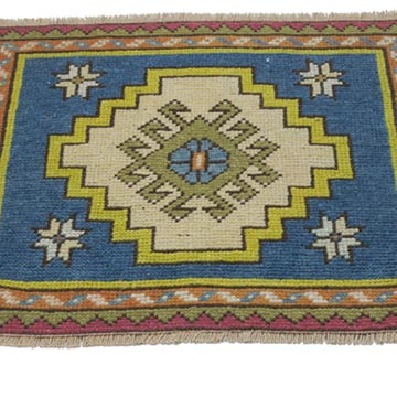 """Vintage Turkish Hand-Knotted Rug - 2' 1"""" x 1' 10"""" (25 in. x 22 in.) - K0054802"""