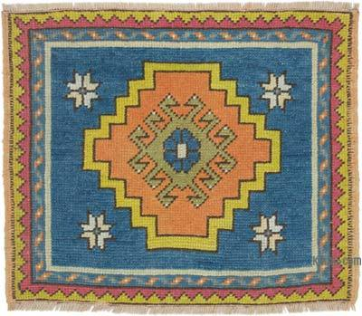 """Vintage Turkish Hand-Knotted Rug - 2' 1"""" x 1' 9"""" (25 in. x 21 in.)"""