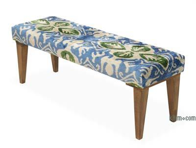 Bench Upholstered with Silk Velvet Ikat Fabric