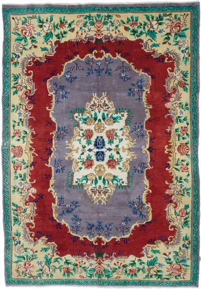 """Vintage Turkish Hand-knotted Area Rug - 6' 11"""" x 9' 11"""" (83 in. x 119 in.)"""