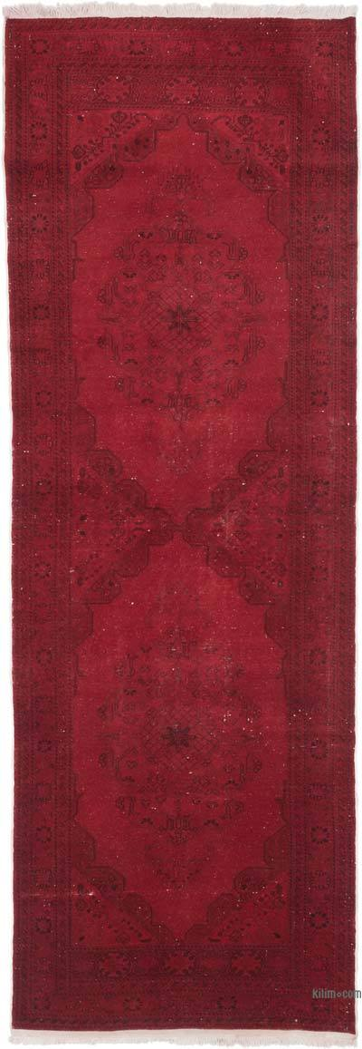 """Red Over-dyed Turkish Vintage Runner Rug - 3' 3"""" x 9' 5"""" (39 in. x 113 in.)"""