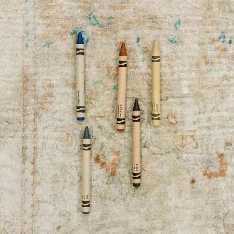 """Beige Vintage Turkish Hand-Knotted Silk Rug - 6' 5"""" x 9' 9"""" (77 in. x 117 in.) - K0055412"""