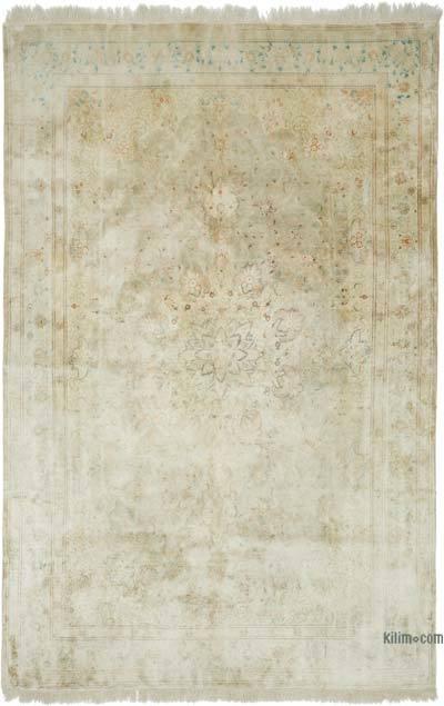 """Beige Vintage Turkish Hand-knotted Silk Rug - 6' 5"""" x 9' 9"""" (77 in. x 117 in.)"""