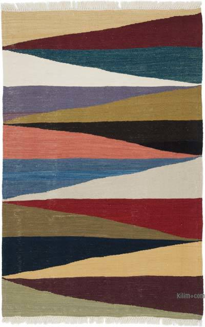 """Multicolor New Handwoven Turkish Kilim Rug - 3' 8"""" x 5' 9"""" (44 in. x 69 in.)"""