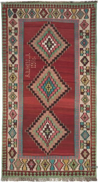 """Vintage Caucasian Lenkoran Kilim Rug - 5' 1"""" x 9' 3"""" (61 in. x 111 in.)"""