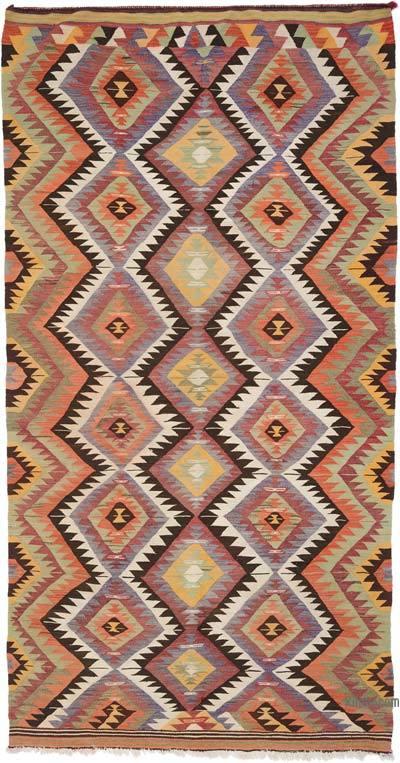 """Multicolor Vintage Denizli Kilim Rug - 5' 3"""" x 10' 2"""" (63 in. x 122 in.)"""