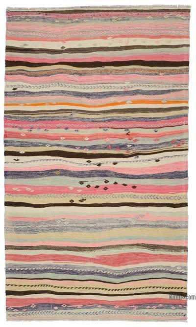 """Multicolor Vintage Balikesir Kilim Rug - 4' 2"""" x 7' 1"""" (50 in. x 85 in.)"""