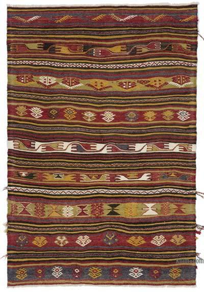 """Vintage Konya Kilim Rug - 3' 1"""" x 4' 5"""" (37 in. x 53 in.)"""