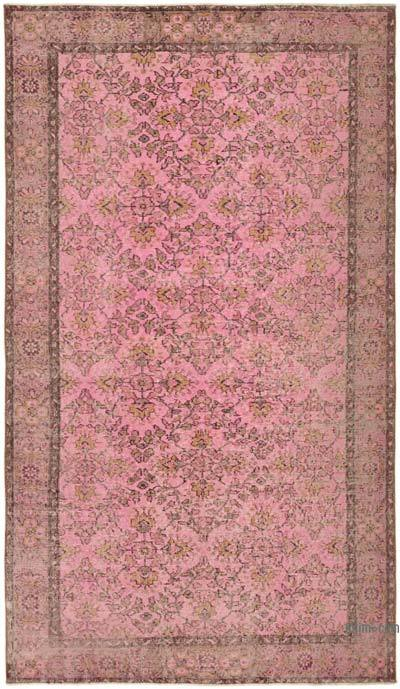 """Pink Over-dyed Vintage Hand-Knotted Turkish Rug - 5'  x 8' 6"""" (60 in. x 102 in.)"""