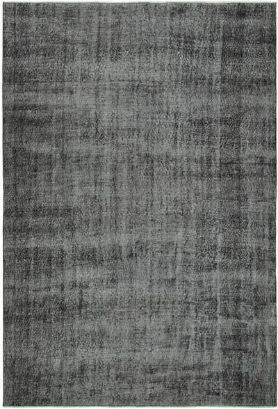 """Black Over-dyed Vintage Hand-Knotted Turkish Rug - 6' 8"""" x 9' 9"""" (80 in. x 117 in.)"""