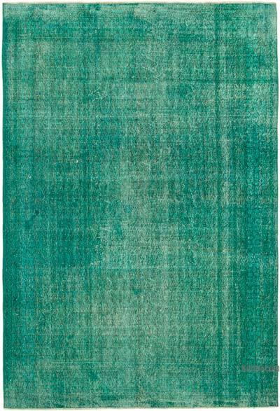 Mavi-Yeşil Boyalı El Dokuma Vintage Halı