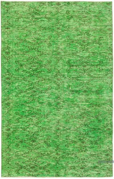Yeşil Boyalı El Dokuma Vintage Halı - 145 cm x 233 cm