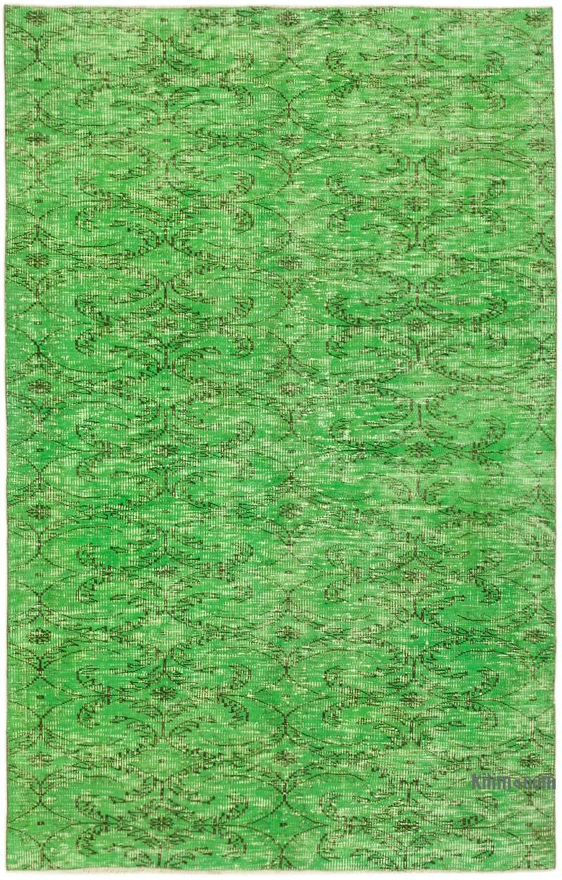 """Green Over-dyed Vintage Hand-Knotted Turkish Rug - 4' 9"""" x 7' 8"""" (57 in. x 92 in.) - K0056050"""