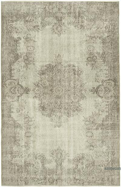 """Beige Over-dyed Vintage Hand-Knotted Turkish Rug - 5' 4"""" x 8' 1"""" (64 in. x 97 in.)"""