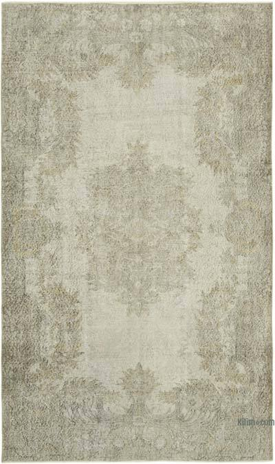 """Beige Over-dyed Vintage Hand-Knotted Turkish Rug - 5' 11"""" x 9' 7"""" (71 in. x 115 in.)"""