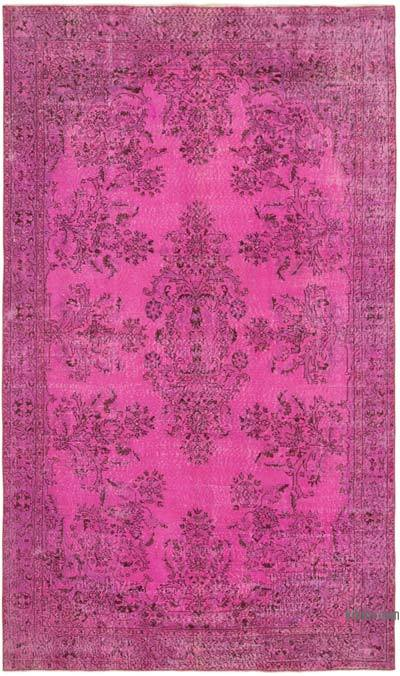 """Pink Over-dyed Vintage Hand-Knotted Turkish Rug - 5' 9"""" x 9' 8"""" (69 in. x 116 in.)"""