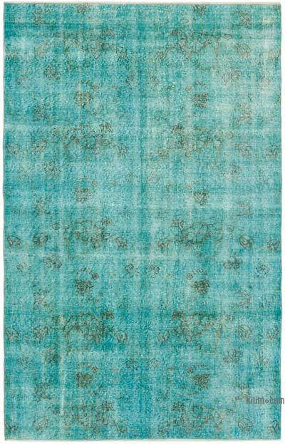 """Aqua Over-dyed Vintage Hand-Knotted Turkish Rug - 4' 11"""" x 7' 8"""" (59 in. x 92 in.)"""