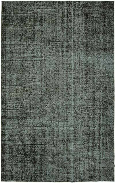 """Black Over-dyed Vintage Hand-Knotted Turkish Rug - 5' 11"""" x 9' 5"""" (71 in. x 113 in.)"""