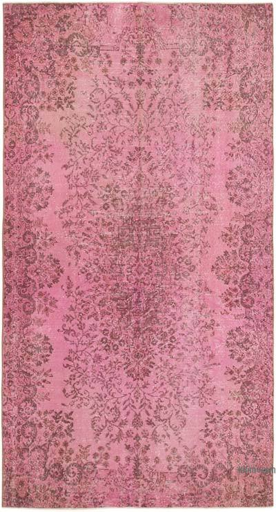 """Pink Over-dyed Vintage Hand-Knotted Turkish Rug - 5' 4"""" x 9' 8"""" (64 in. x 116 in.)"""