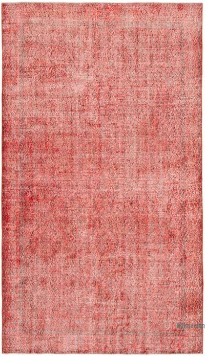 """Red Over-dyed Vintage Hand-Knotted Turkish Rug - 5'  x 8' 8"""" (60 in. x 104 in.)"""