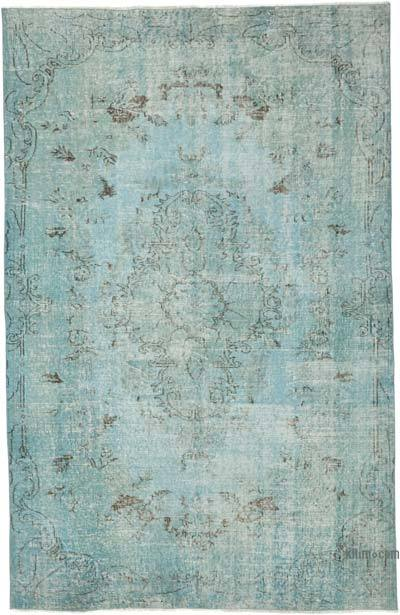 """Blue Over-dyed Vintage Hand-Knotted Turkish Rug - 5' 4"""" x 8' 3"""" (64 in. x 99 in.)"""