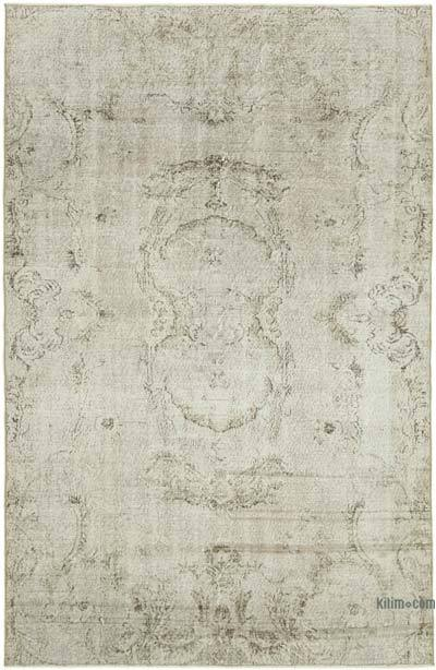 """Beige, Grey Over-dyed Vintage Hand-Knotted Turkish Rug - 5' 11"""" x 8' 11"""" (71 in. x 107 in.)"""