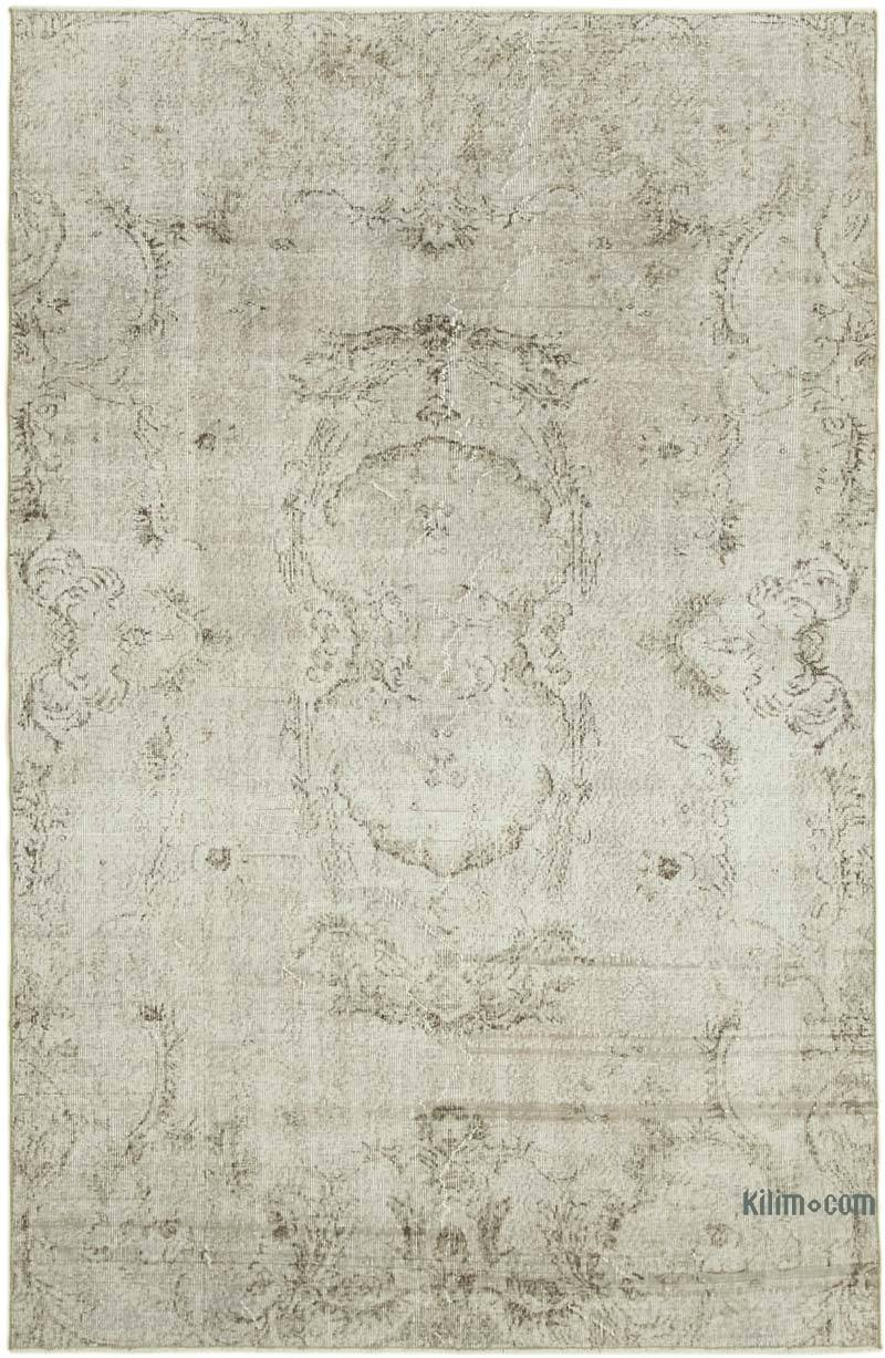 """Beige, Grey Over-dyed Vintage Hand-Knotted Turkish Rug - 5' 11"""" x 8' 11"""" (71 in. x 107 in.) - K0056069"""