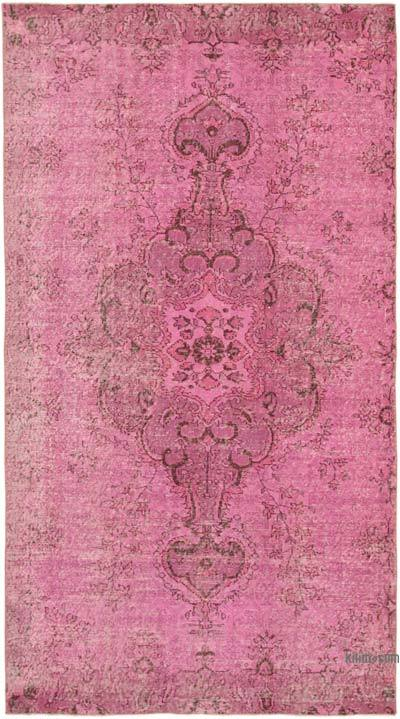 """Pink Over-dyed Vintage Hand-Knotted Turkish Rug - 5' 11"""" x 9' 11"""" (71 in. x 119 in.)"""