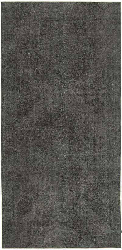 Negro Alfombra Turca Vintage Sobre-teñida - 145 cm x 292 cm