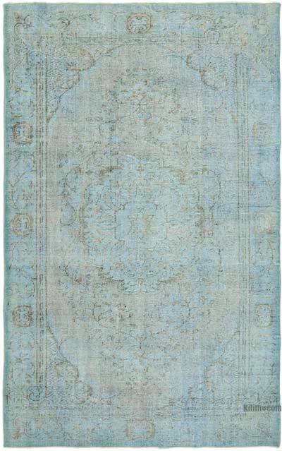 """Blue Over-dyed Vintage Hand-Knotted Turkish Rug - 5' 6"""" x 8' 8"""" (66 in. x 104 in.)"""