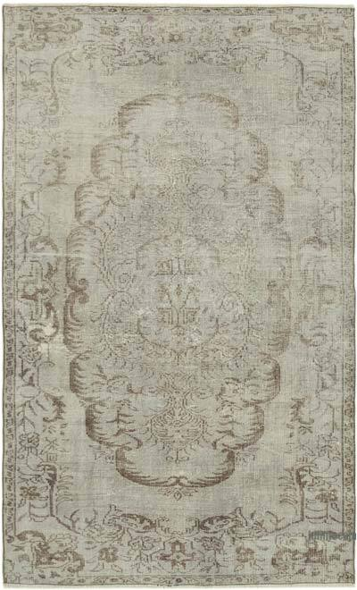 """Grey Over-dyed Vintage Hand-Knotted Turkish Rug - 5' 7"""" x 9'  (67 in. x 108 in.)"""